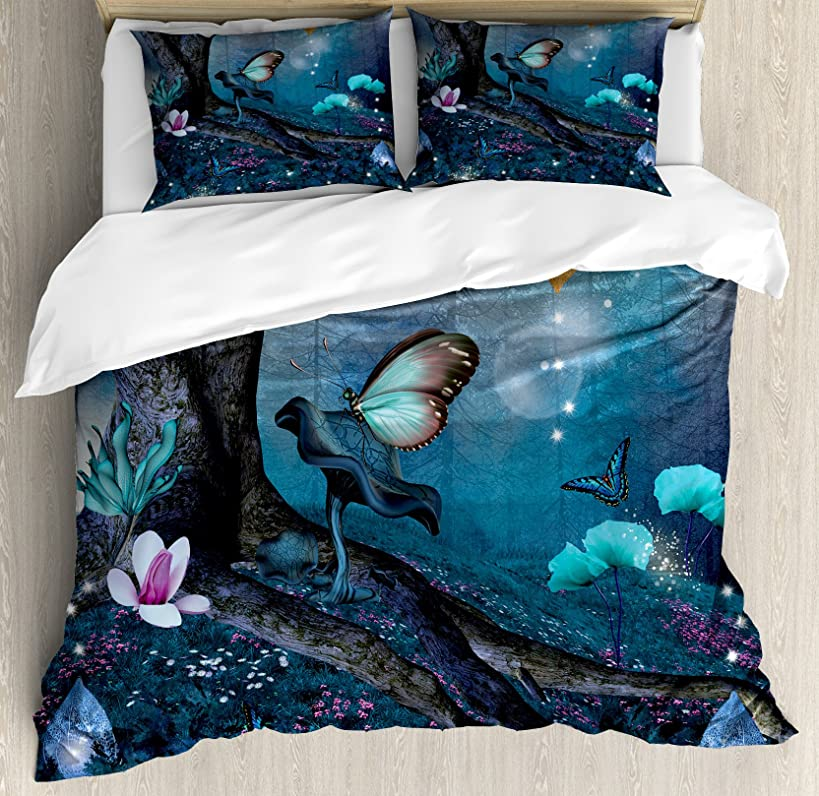 Lunarable Fantasy Queen Size Duvet Cover Set, Enchanted Forest with Blooming Flowers Mystical Environment Woods Illustration, Decorative 3 Piece Bedding Set with 2 Pillow Shams, Multicolor