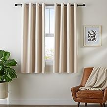 AmazonBasics - Juego de cortinas que no dejan pasar la luz, con ojales, 140 x 175 cm, Beige