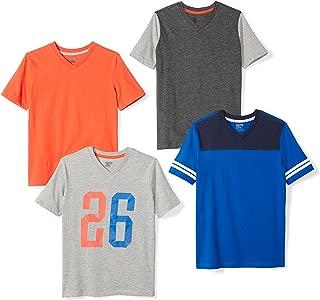 Amazon Brand - Spotted Zebra Boys' Toddler & Kids 4-Pack Short-Sleeve V-Neck T-Shirts