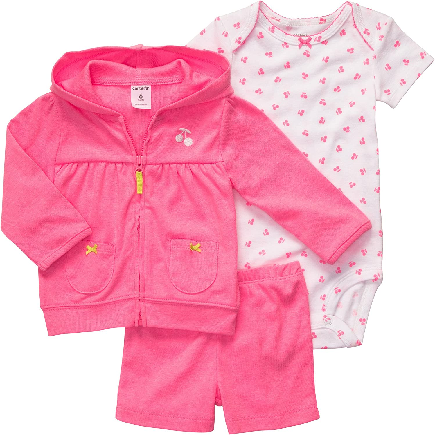 Carter's Pink Cherry Blossom Little Layette Short Mo 4 years warranty 3 Set Courier shipping free Size