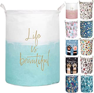 Aouker Merdes 19.7'' Waterproof Foldable Laundry Hamper, Dirty Clothes Laundry Basket, Linen Bin Storage Organizer for Toy Collection (Life Blue)