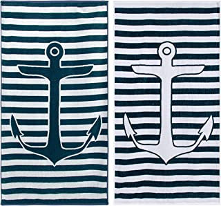 """Superior 100% Egyptian Cotton, 450 GSM, Yacht Club Oversized Beach Towel (Set of 2) 34""""x 64"""", 2-Ply, High Absorbency Nautical Striped Anchor Pattern"""