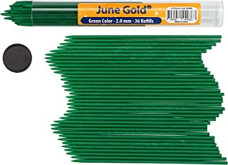 June Gold 36 Green Colored 2.0 mm Lead Refills, Bold Thickness for Heavy Use, Break Resistant with a Convenient Dispenser