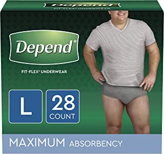 Depend FIT-FLEX Incontinence Underwear for Men, Maximum Absorbency, Disposable, L, Grey, 28 Count