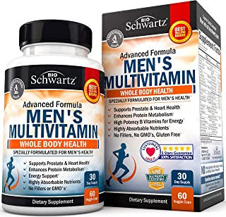 Men's Multivitamin Advanced Formula with Zinc, A, B, C, D3, E Vitamins - Daily Supplement for Heart Health Support - Promo...
