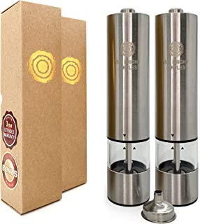 Electric Pepper and Salt Grinder Set (2 Mills) | Automatic Adjustable Shaker | Battery Operated Spice Mill | Stylish Stain...