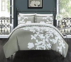 مجموعة اغطية لحافات Chic Home مكونة من 3 قطع Calla Lily عاكسة، King، رمادي