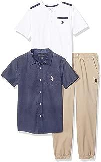 Boys' 3 Piece Short Sleeve Woven, Henley T-Shirt, and...