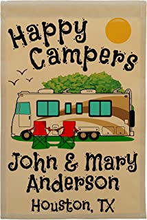 Personalized Happy Campers Campsite Flag, Class A Motorhome with 3 Additional Lines of Custom Text, Brown and Gold Motorho...