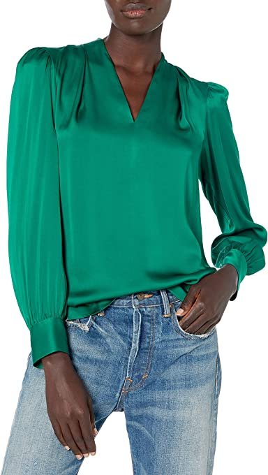 MILLY Women's Iris Stretch Silk Top