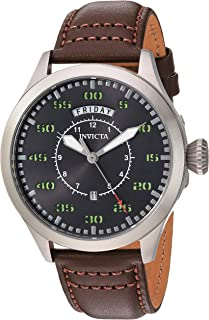 Men's Aviator Stainless Steel Quartz Watch with Leather Calfskin Strap, Brown, 22 (Model: 22973)