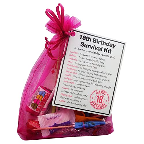 SMILE GIFTS UK 18th Birthday Gift Unique Survival Kit Hot Pink