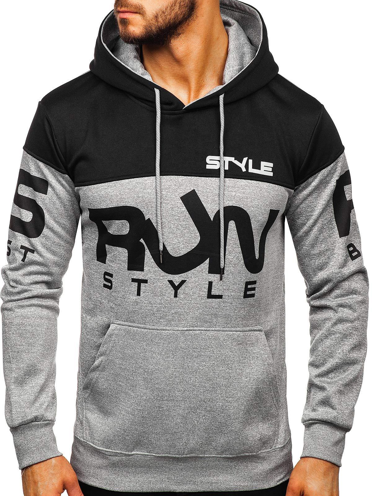 BOLF Mens Hoodies Sweatshirt Hooded Jacket Pullover Sports Jumper 1A1 Graphic