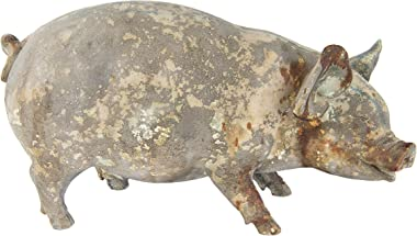 Creative Co-Op Heavily Distressed Magnesia Pig Figurine Décor, Grey