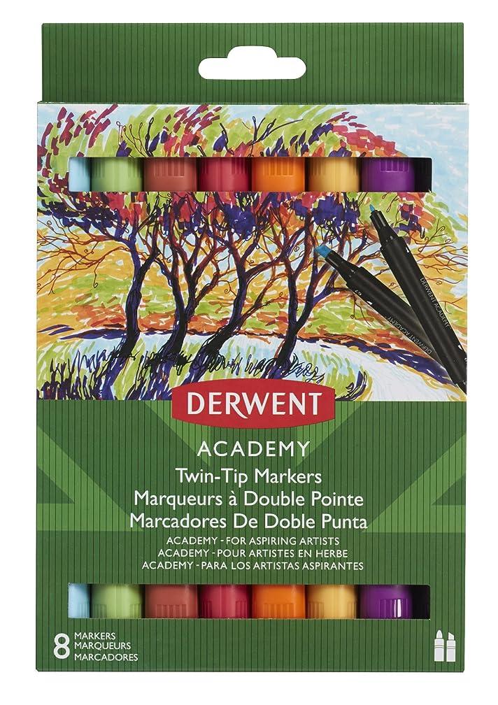Derwent Academy Twin-Tip Markers, Chisel/Fine Tip, 8 Pack (98208)