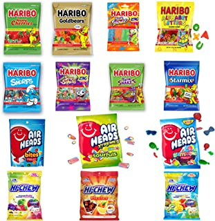 Assorted candy (40 oz) bulk candy mix: full-size Haribo gummy, hi chew & Airheads (pack of 8)