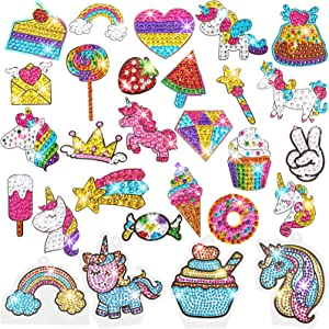 Gem Diamond Painting Kit for Kids, 24 Pieces DIY Diamond Painting Stickers, 4 Suncatchers and DIY Painting Tools to Create Your Own Diamond Stickers Cute Art Crafts for Girls Boys (Unicorn and Food)