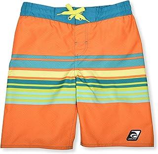 LAGUNA Boys UPF 50 Boys Stripe Drawstring Boardshorts Swim Trunks, Bright Orange Stripe, 14/16