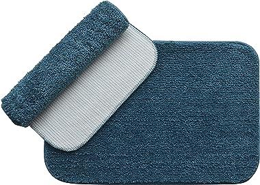 Fashion Hub Super Soft Anti-Slip Microfiber Soft Bathmat, (Peacock Green), (40cm x 60cm - Pack of 2)…