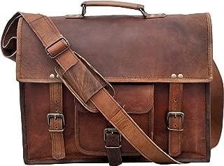 "IndianHandoArt 15"" Inch Leather Messenger Bag Vintange Satchel Bag Crossbody Bags for Men and Women Unisex Office Bag"