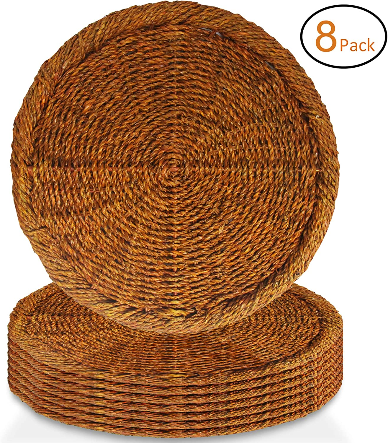 American Atelier Charger Plates 13 Inch Round Rattan Set of 8 Brown