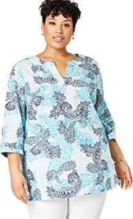 Jessica London Women`s Plus Size Linen V-Neck Tunic