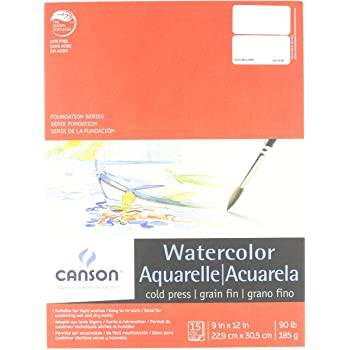 Canson Watercolor Bulk Paper Pack 100 Sheets 90 Pound 11 x 15 Inch for Wet and Dry Media