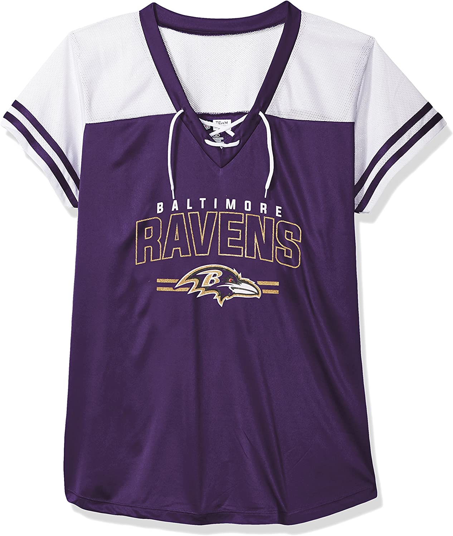 NFL Womens Ravens S S Mesh V Neck