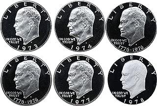 1973-1978 S Eisenhower Ike Dollars Gem Proof Run 6 Coins US Mint Decade Lot Complete 1970's Set