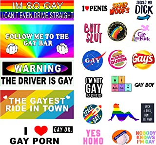 The Original Funny Gay LGBT Prank Bumper Stickers [26 pcs] [UPDATED] Extra Large for Cars, Trucks and Luggage