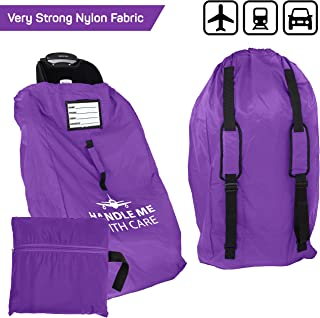 Car Seat Travel Bag Backpack for Gate Check Bag – Waterproof - 600D Nylon Fabric W/Adjustable Strap 18x18x34 inch (Purple)