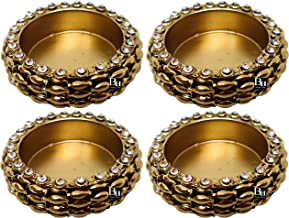 Bombay Haat Antique Gold Metal Diwali Diya Tealight Candle Holders for Diwali Home Decoration | Diwali Lights |Gift Items ...