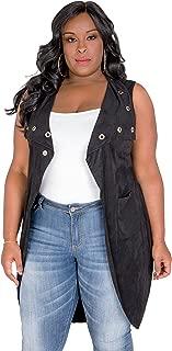 Poetic Justice Plus Size Curvy Womens Black Suede Sleeveless Grommet Duster Coat