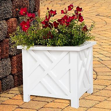 Pure Garden 50-116 Decorative Outdoor Garden Potted Planter Box, White
