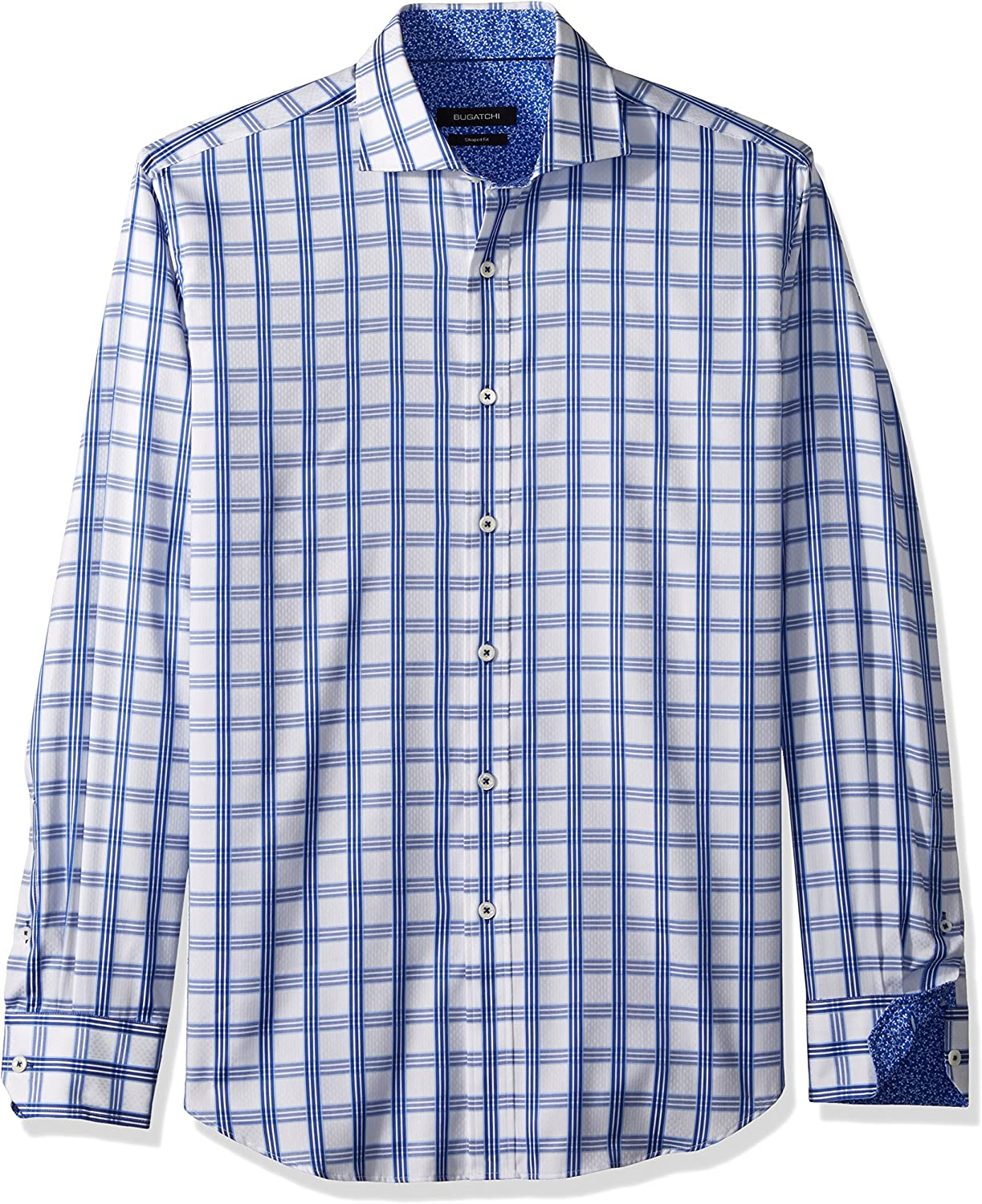 Bugatchi Men's Long Sleeve Brand Sale Special Price new Fitted Jacquard Cotton Shirt Check