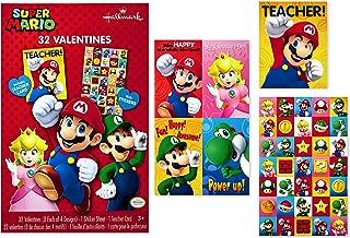 Hallmark Nintendo Valentines Day Cards for Kids, Mario (32 Valentine Cards, 35 Stickers, 1 Teacher Card)