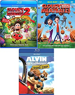 Triple Alvin & Flint Cartoon Favorites Cloudy with a Chance of Meatballs 1 & 2 Animated Blu Ray + Road Chip Chipmunks awesome Family movie Set