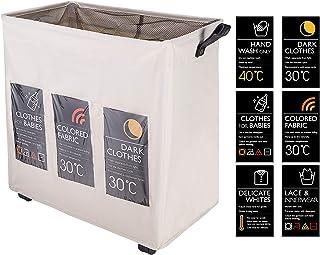 Eono Amazon Brand 3 Compartiment Paniers à Linge avec des Roues, Pliable Sac à Linge, Pliage Grande Capacité Corbeilles à ...