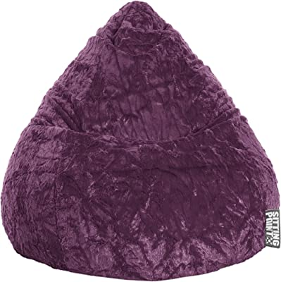 Gouchee Home Fluffy Collection Contemporary Oversized Faux Fur Upholstered Design Bean Bag Chair, Purple