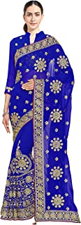 Sourbh Mirchi Fashion Women's Embroidered Bridal Wedding Saree (3441_with Color Option)