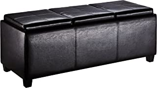 First Hill Junia Faux-Leather Storage Ottoman with 3 Serving Trays, Large - Espresso Bean Brown