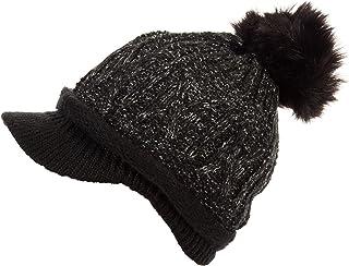 DRY77 Soft Thick Knit Skull Beanie Visor Cap Hat Warm Winter Pom Pom Women