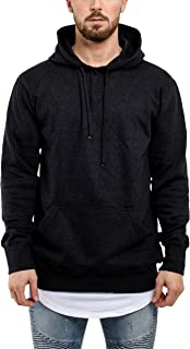Blackskies Raw Hem Zip Hoodie Mens Long Pullover Oversized Longlined Jumper Sweater Gray Charcoal Green S M L XL