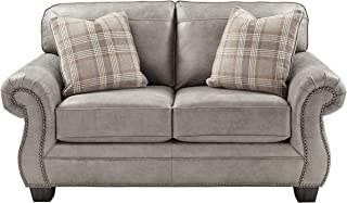 Signature Design by Ashley - Olsberg Traditional Loveseat with Nailhead Trim - Accent Pillows Included, Steel