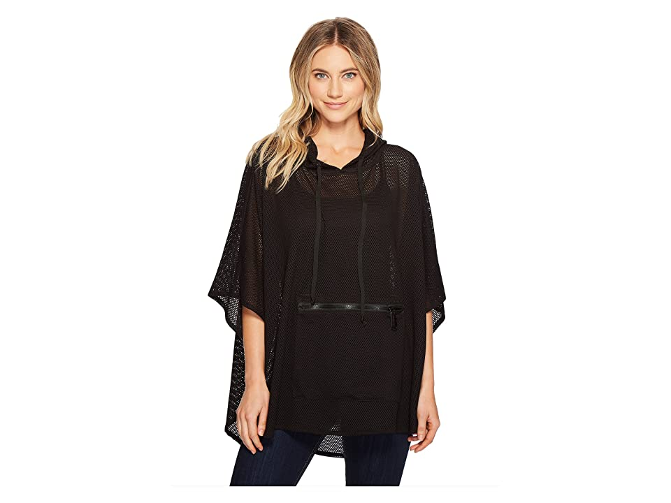 Steve Madden Mini Mesh Hi Lo Hooded Poncho (Black) Women