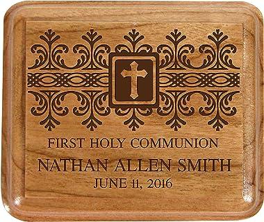 LifeSong Milestones Personalized 1st Holy Communion Keepsake Box Custom Sacraments Baptism Gifts