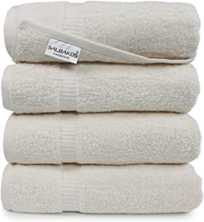 SALBAKOS Luxury Hotel & Spa Turkish Cotton 4-Piece Eco-Friendly Bath Towel Set 27 x 54 Inch, Ivory