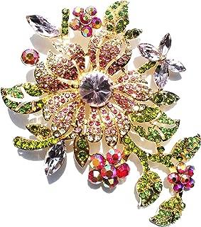 Klorify Big Flower Brooch for Woman Girl Elegant Pink Crystal Rhinestone Pin Romantic Wedding Bride Bridesmaid Rhinestone Brooches and Pins Jewelry