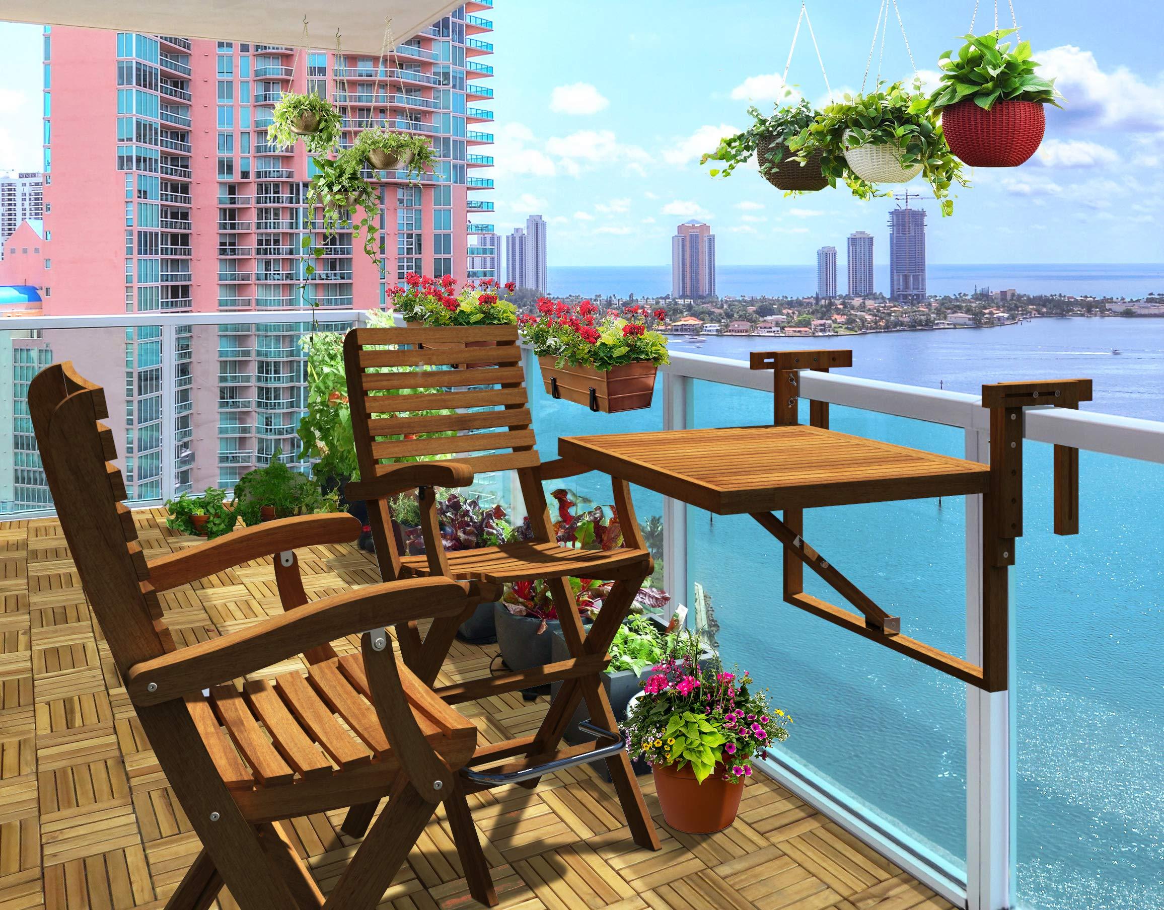 INTERBUILD REAL WOOD Toronto Balcón Mesa y Casino Bar Sillas (1 mesa + 2 sillas) | Balcón pequeño, juego de mesa plegable | Acabado de teca dorado: Amazon.es: Jardín
