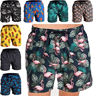 Fort Isle Mens Stretch Swim Trunks - Prints - Quick Dry 4-Way Stretch - Beach Bathing Suits Shorts